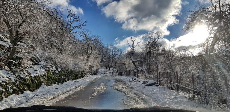 Agiasos - Road with snow